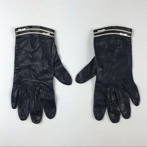Accessories - Vintage 1960s navy leather driving gloves